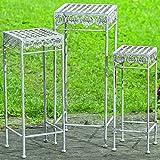3 x Beistelltische Elysee H55-65-75cm Tisch Metall eckig Eisentisch Blumenhocker Gartentisch Pflanzentisch