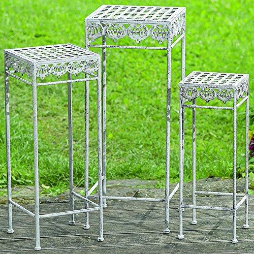 Dapo 3 x Beistelltische Elysee H55-65-75cm Tisch Metall eckig Eisentisch Blumenhocker Gartentisch Pflanzentisch
