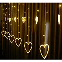 Fizzytech 1 Pcs Heart Shape Light Curtain for Decoration for Gift Christmas Decoration Valentine (Pack of 1, Warm White)