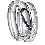خاتم TIGRADE من الفولاذ المقاوم للصدأ خاتم الحب الحقيقي القلب الحب الحب والأزواج عيد الحب حجم 4.5-15