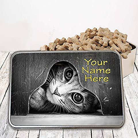 Personalised Peeking Black & White Cat St828 Pet Treat Cat Dog Bird Food Tin Box Gift by Krafty Gifts