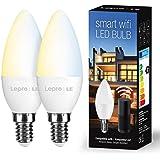 LE 4.5W Smart E14 LED Lampen Warmweiß und Kaltweiß, Dimmbar LED Leuchtmittel, Kerzen, Wlan LED Birnen, Ersatz für 40W…