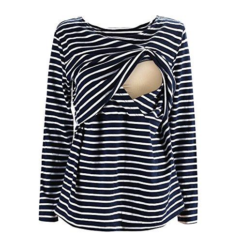 Lange Ärmel, Horizontale Streifen (UTOVME Still Shirt für Damen Mutter Langarm Stilltop Verdoppelt Geschichteten Mutterschaft Top Stillen Streifen T-Shirt Blau L)