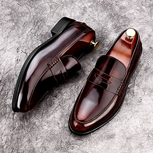 Scarpe Da Uomo Per Il Tempo Libero In Pelle Tendine Vestito Primavera E Autunno Business Wedding Slip On Marrone-nero In Pelle Stampa Marrone