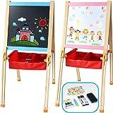 Pizarra Magnética Infantil Doble y Ajustable Caballete Pintura con Letras Magneticas Divertido Juguete Madera Educativo Juego