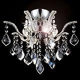 Glas Kristall Kronleuchter Deckenleuchte mit K9 Glaskristallen Deckenlampe für Wohnzimmer 40cm 4x G9