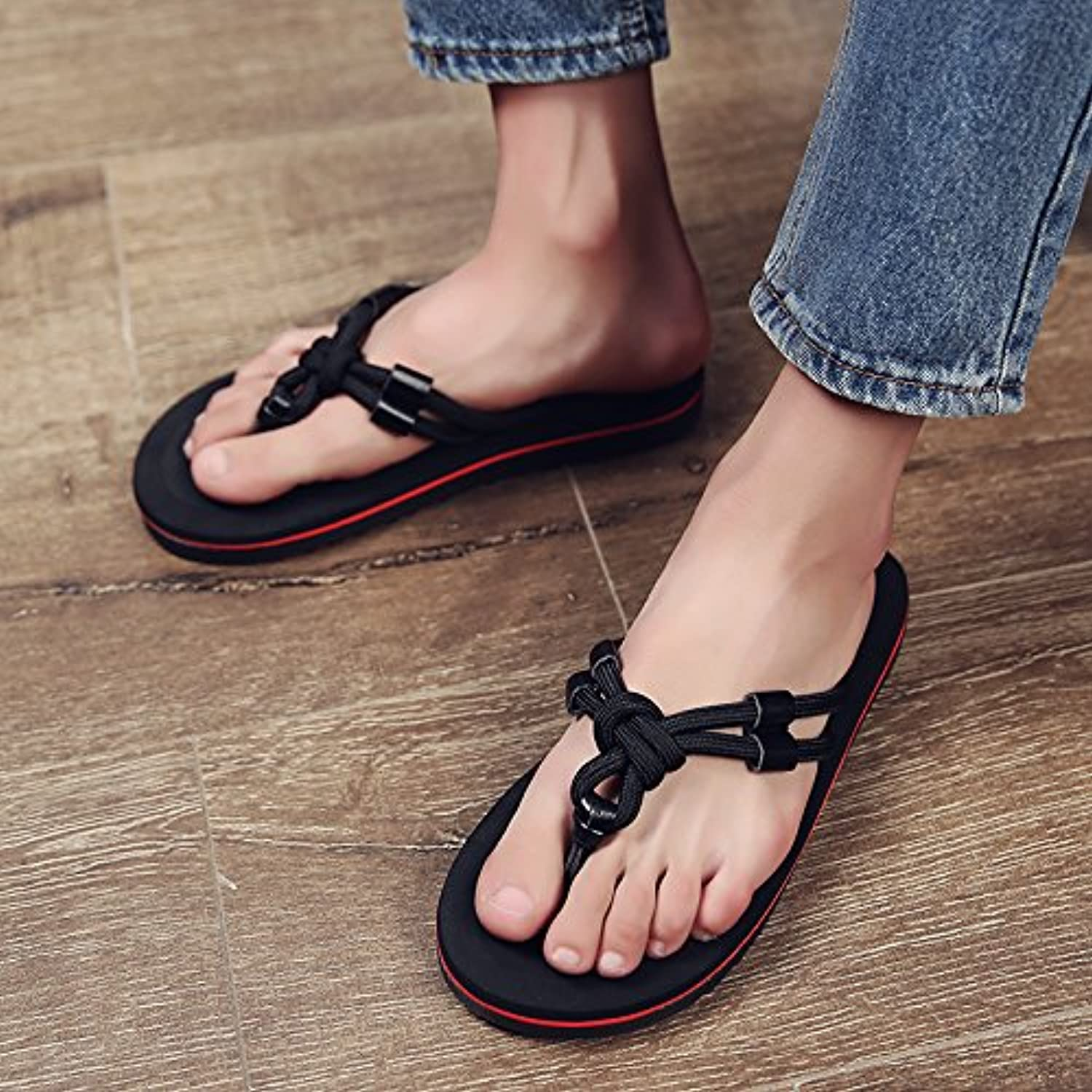 fankou Summer Sandals Men's Men's Field and Trendy Clip Pin Personalized Couples Large Code Beach Slippers,44,...