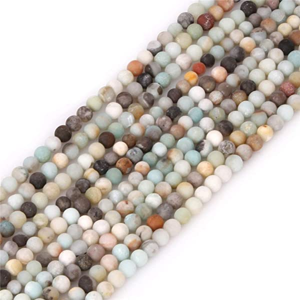 5 Strand Frosted Natural Amazonite Gemstone Bead Strands Jewelry Making Round