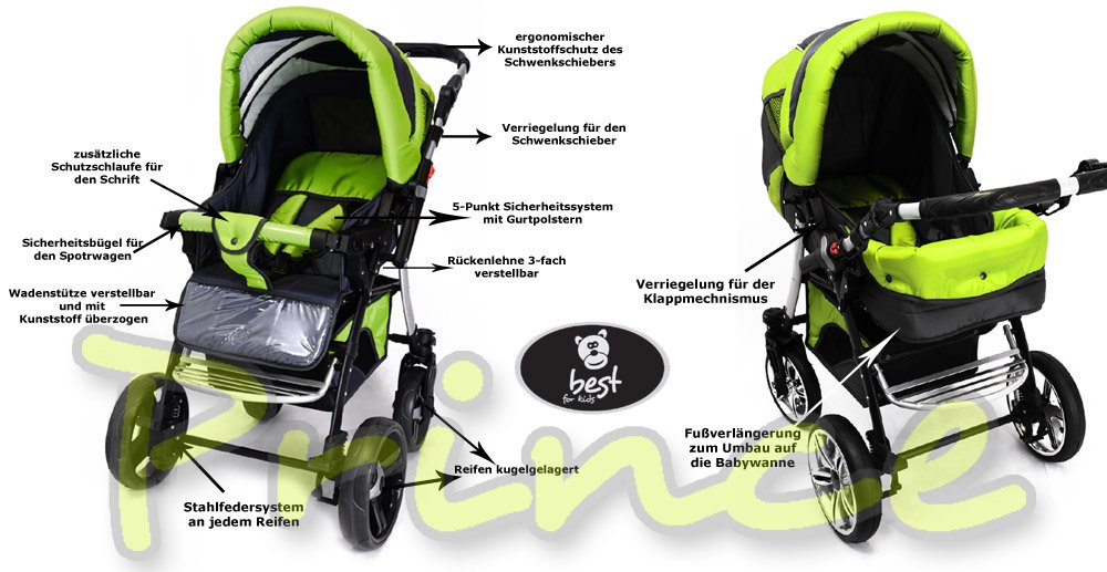 Best For Kids Prince Pram/Stroller different colors  Huge children's car set from Best For Kids. This package leaves nothing to be desired and will accompany you and your child from infancy. Included are a baby tub attachment and a sports seat (buggy). The individual attachments can be changed in seconds. The ingenious design is easy to use. Because of the low weight and size you can stow this stroller very easily in the car. Security has priority! With this combi-van you are always on the safe side. The Best For Kids stroller fulfills the European safety standard EN1888. This specifies safety requirements with regard to materials, construction and stability. Great colors - modern construction. This Best For Kids stroller is not only extremely versatile, it is also an absolute eye-catcher. The modern color scheme in combination with the large tires (to choose from 3 sets of wheels, also air bikes for 25 EUR surcharge) on the chrome rims provides a beautiful look. 3