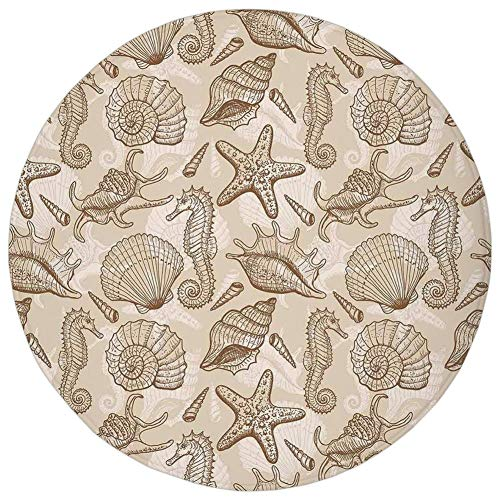 Round Rug Mat Carpet,Beige,Exotic Marine Animals in Retro Style Ilustration Shells Starfish Seahorse Contemporary Deco Decorative,Beige,Flannel Microfiber Non-slip Soft Absorbent,for Kitchen Floor Bat - Deco-contemporary Rug