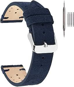Cinturini per orologi in pelle, cinturini in pelle EACHE Rally Racing Cinturini per orologi in pelle scamosciata fatti a mano da uomo 18mm 20mm 22mm