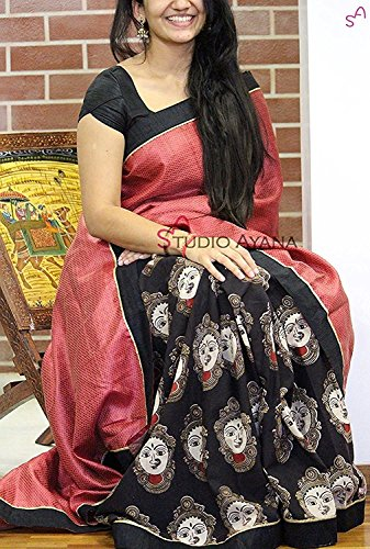 Pramukh Store Cotton Silk Saree With Blouse Piece (Ziya Black-1_Black_Free Size)