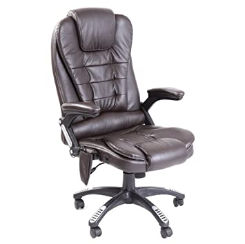 Executive Leather Reclining 6 Point Heated Massage Office Chair   Remote  Control  Brown Executive Leather Reclining 6 Point Heated Massage Office Chair    . Office Chair Recline. Home Design Ideas