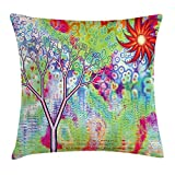 BUZRL Psychedelic Throw Pillow Cushion Cover, Digital Fractal Landscape by Lake Tree Abstract Artistic Surreal Illustration, Decorative Square Accent Pillow Case, 18 X 18 Inches, Multicolor