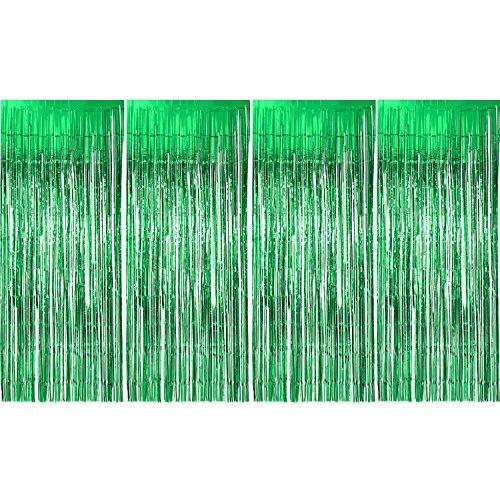 4 Packung Folie Vorhänge Lametta Vorhänge Glitter Vorhänge Schimmer Fringe Metallic Dekoriert Vorhänge Kulissen für Party Lieferungen, Grün