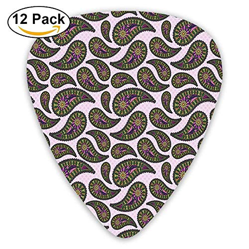 Raindrop Design With Sunflower In The Middle With Leaves Rounded Artwork Guitar Picks 12/Pack Set Set Sunflower-design
