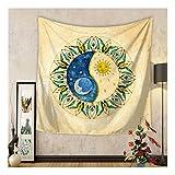 Psychedelisch Sonne Mond Tapisserie Hippie Wandteppich Mandala Deko Bunt Indisch Tapestry Wall Hanging Boho Mandala Tuch Wandtuch