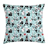 Cat Lover Throw Pillow Cushion Cover, Black and White Cats in Love Meow Print Among Hearts Daydreaming Kitties Cat Ears, Decorative Square Accent Pillow Case, 18 X 18 inches, Multicolor