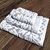 Bath Towel Embossed jacquard durable absorbent Bath towel 600g Absorbent 200g towel 100g square towel three-piece Home And Hotel Bath Towel ( Color : Blue )