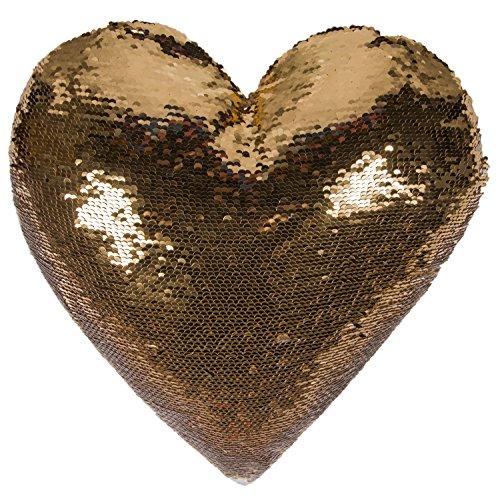 Ataya Sirena Throw Pillow con inserto, 2 colores en forma de corazón reversible decorativos lentejuelas cojín Almohada