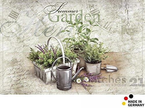 matches21 Küchenläufer Teppichläufer Teppich Läufer Sommer & Garten Kräuter 50x80x0,4 cm rutschfest maschinenwaschbar Küchenvorleger