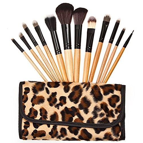 12 pcs Lot de pinceaux de maquillage professionnel Peigne à sourcils Leopard Sac