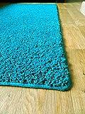Neue weiche Plain Shaggy Matten Maschinenwaschbar Rutschfeste Große Kleine Schlafzimmer Teppiche (66x 120cm) (Blaugrün)