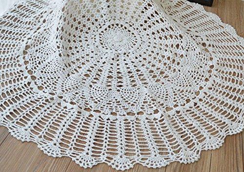 PANGUN 80Cm Bianco Mano Crochet Tovaglia Tavolo Runner Desk Copertina Topper Ananas Floreale Wedding Decor