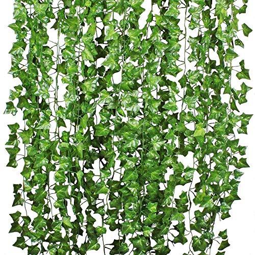 ch 12 Stück Efeu Kunstpflanze Hängend Girlande Efeugirlande 12x2M Lang Kunststoff Efeu Blätter Künstlich Kunst Efeu Girlande für Garten Außen Wand Party Hochzeit Dekoration ()