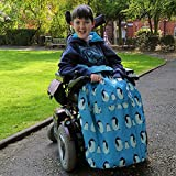 BundleBean Childs Wheelchair Rain Cover / Cosy / Special Needs Buggy Cosy - waterproof, fleece, universal fit TEAL PENGUINS