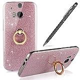 HTC M8 Hülle,M8 Silikon Hülle,WIWJ Hülle Kristall Bling Glänzend Glitzer Durchsichtig Klar TPU Silikon Hülle mit Metall Ring Stand Ständer Schutzhülle für HTC M8-Rosa