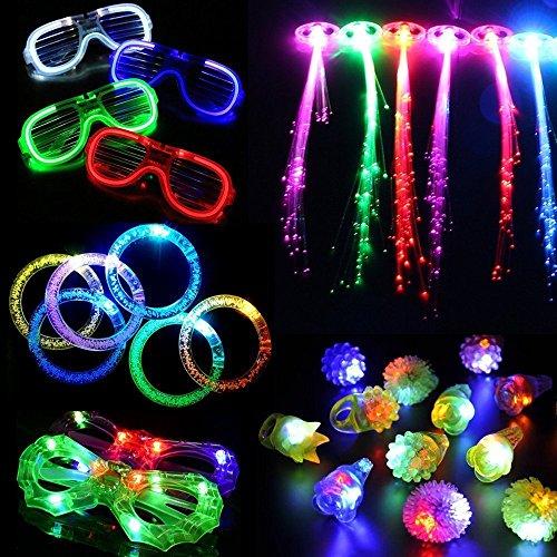 30 Stück LED leuchten Party Favor Spielzeug Set.LED Party Pack mit LED-Zubehör - 12 LED blinkende holprige Ringe, 6 LED Blase Armbänder, 6 LED-Brillen und 6 LED Fiber Optic Hair Extensions (Partyspielzeuge 01)