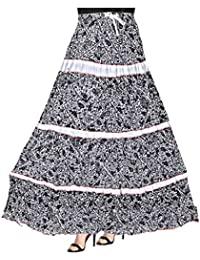 Patch Work Printed Cotton Long Skirt For Women With Elastic Band (Free Size) - B077D9RJ61