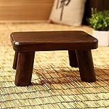 Denzihx Retro Méditation Tatami tapis Sol Tabouret,Repose-pied Bois Style japonais Mini Petit Tabouret-A