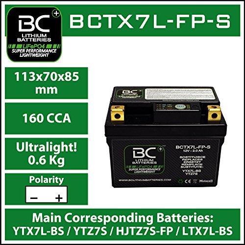 BC Lithium Batteries BCTX7L-FP-S Batería Litio para Moto LiFePO4 HJTZ7S-FP / YTX7L-BS / YTZ7S / YTZ8V