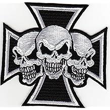 Aufnäher Bügelbild Aufbügler Iron on Patches Applikation Totenkopf Skull Tattoo Biker Kreuz Chopper eisernes