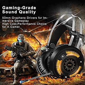 ALWUP Cuffie Gaming per PS4,Cuffie Gaming Xbox One PC Auricolare Gamer,Cuffie PS4 con Microfono Stereo Bass Anti-Rumore e USB LED Lights per Playstation Nintendo Switch Laptop Computer