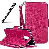 BtDuck Huawei Honor 7 Hülle Leder Wallet Case, SlBrieftasche Flip Cover Patterned PU Leder Schutzhülle für Huawei Honor 7 Tasche Portemonnaie börse Cases Handycover Briefcase Handyhülle Rote