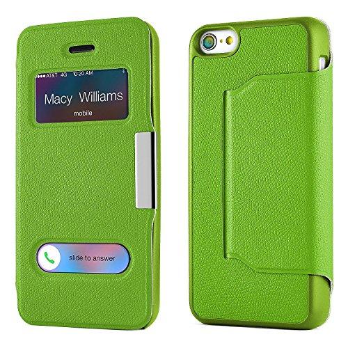 iPhone 5C Hülle Hell-Blau mit Sicht-Fenster [OneFlow Window Cover] Schutzhülle Ultra-Slim Handyhülle für iPhone 5C Case Flip Handy-Tasche Stand-Funktion GRÜN