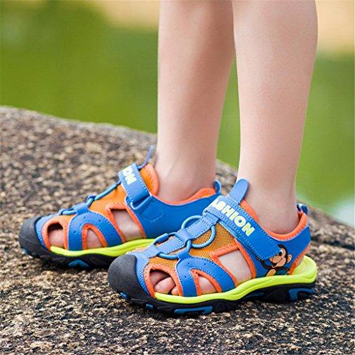 GEERBU Kinder Sandalen Strand Geschlossene Sandalen Klettverschluss Outdoor Wanderschuhe Breathable Schuhe Jungen Mädchen Blau Orange