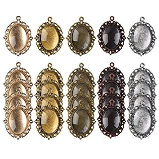 Lvcky 25 Pieces Assorted Colors Pendant Trays Oval Bezels and 25 Pieces Glass Dome Tiles, Totally 50 Pieces
