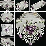 Quinnyshop Pensée lilas Broderie Chemin de table 45 x 110 cm Ovale Polyester, Blanc