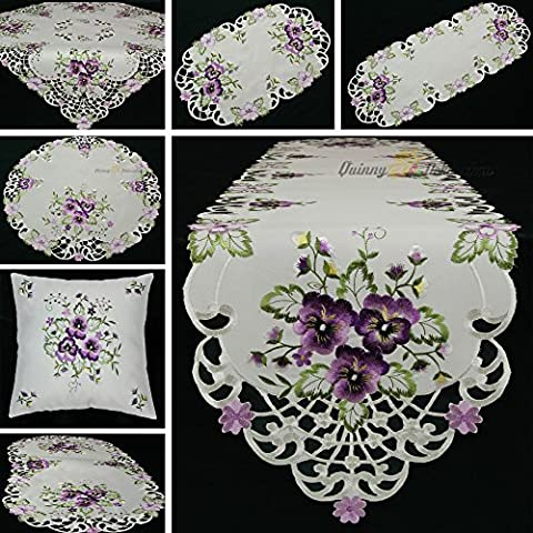 Quinnyshop Pensée lilas Broderie Chemin de table 40 x 90 cm Ovale Polyester, Blanc