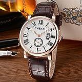 DAZHE Relojes Militares Relojes de Pulsera de Cuarzo, Reloj Calendario pequeño Reloj de Tres Hombres de Moda Reloj de Oro Rosa Reloj de Correa generación 078A (Color : 1)