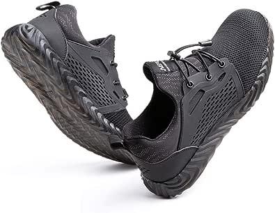 Hitmars Chaussure de Securité Homme Legere Respirante Confortable Baskets de Travail Securite Femmes Embout Acier Noir Gris Bleu Vert Taille 36-48