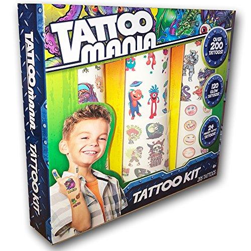 Temporary Tattoo Mania Kit OVER 200 Boys Tattoos with Bonus Glow in the dark Tattoos