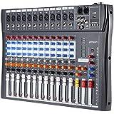ammoon Mixer 60S-USB a 6 Canali Mixer Audio 3 Band EQ XLR USB Ingresso 48 V Phantom Power con Alimentatore di Energia 12 Canales