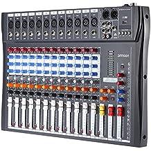 ammoon Mesa de Mezclas Mezclador de Audio 12 Canales 120S-USB Mic 3 Bandas de Ecualización XLR USB Entrada 48V Phantom Power con Adaptador de Energía