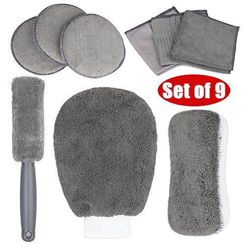 WOOWA Kit de limpieza para coche y moto, 9 unidades, incluye 1...