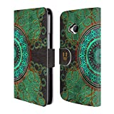 Head Case Designs Mandala Arabeske Muster Brieftasche Handyhülle aus Leder für HTC One M7